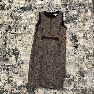 Michael Kors Brown Tweed dress with Gold detail